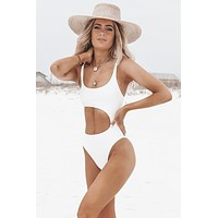 Heat Wave One Piece White Monokini Swim