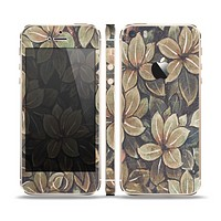 The Vintage Green Pastel Flower pattern Skin Set for the Apple iPhone 5s