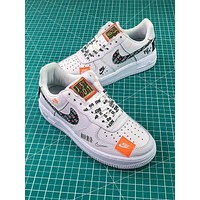 Nike Air Force 1 AF1 Low Custom Just Do It 905345-500 SL YS White Black Graffiti Sport Shoes - Sale