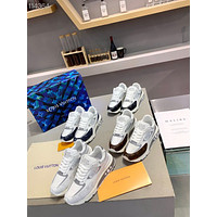 2021 LV Louis Vuitton Men's Leather HIGH Top Sneakers Shoes WHITE