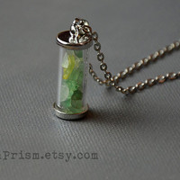 Adventurine Chips in Glass vial pendant necklace | Crystal chips | Glass vial necklace | Green Crystal Necklace | Wish bottle