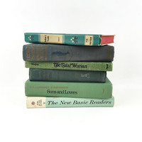 Set of 6 Vintage Green Hardcover Books / Color Coded, Coordinating Novels / Nature Inspired Decor / Ephemera