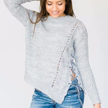 Grey Side Lace Sweater