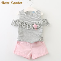 Bear Leader Girls Clothes Summer 2017 Girls Clothing Sets Kids Clothes Striped Children Clothing Toddler Girl Tops+Shorts Suits