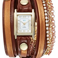 Women's La Mer Collections 'Diamond Crystal' Leather & Chain Wrap Watch