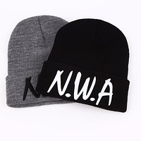 VORON New skullies beanies Gangsta NWA knitted winter hats hat female cap VOGUE women men hip hop lady wool pompon balls bonnet