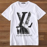 LV Louis Vuitton 2019 new victory gesture V letter printed round neck T-shirt top White