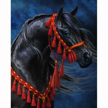 5D Diamond Painting Horse With Red Tassel Bridle Kit