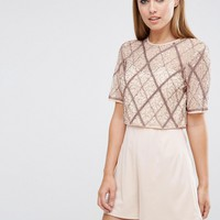 ASOS Double Layer Embellished Playsuit