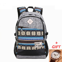 Unique Gray Laptop Backpack School Bookbag Travel Bag Daypack for Women Men + Free Gift World Map Watch
