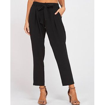 Pleated Belted Bow Crepe Pants with Pockets in Black