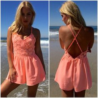 Glowing Daisy Romper In Neon Coral