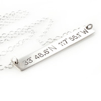 Custom Coordinates Bar Necklace