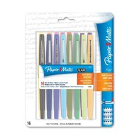 Paper Mate Point Guard Flair Porous Point Stick Pen, Assorted Ink, Medium, 16 Per Pack (PAP70644)