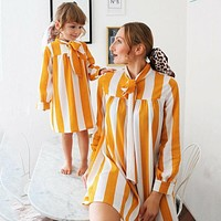 Mommy And Me Matching Dress Mommy And Me Matching Outfits Yellow Dress Stripe