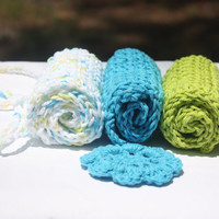 Blue Green Baby Washcloths - Cotton Crochet Washcloths