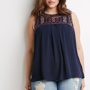 Southwestern Pattern Embroidered Top