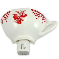 Cherry Checkered Teacup Night Light Tea Cup Red White m222
