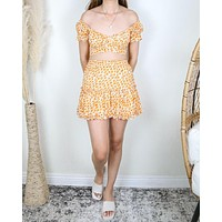 Sunny Days Floral Two Piece Set in Orange