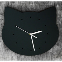 Acrylic wall clock in shape of cat's head- in black, with hours marked with dots