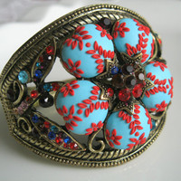 Polymer Clay Flower Bracelet with Crystals by Lena Handmade Antique Jewelry Polymer clay Embroidery / Applique Bracelet