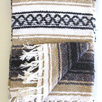 TAN Mexican Blanket Beach Blanket Vintage Style LIGHT BROWN