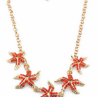 Beaded Starfish Cluster Necklace