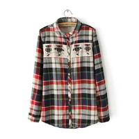 Owl Patchwork Plaid Long Sleeve Top