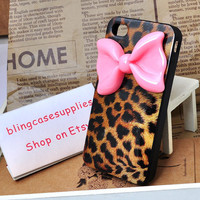 Tiger soft silicone case for iphone  4  with pink bow