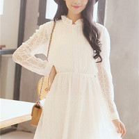 White Lotus Leaf Collar Sheer Lace Long Sleeve Skater Dress