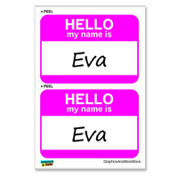 Eva Hello My Name Is - Sheet of 2 Stickers