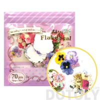 Pretty Daisy Rose Floral Flower Shaped Sticker Flake Seal Pack From Japan | 70 Pieces