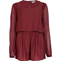 Red Chelsea Girl lace collar playsuit - brands - sale - women
