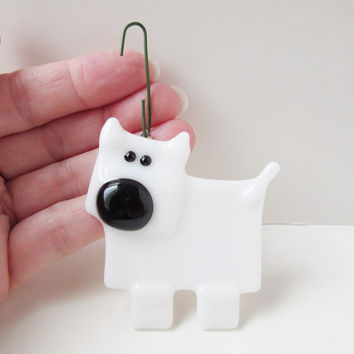 Christmas Tree Ornament, White Dog Lover Ornament, Fused Glass Dog, Hanging Dog Decoration, Gift Under 10, Dog Lover Gift, Stocking Stuffer