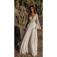 White Sheer Deep Plunge Lace-Up w/ Tassel Flowing Beach Cover Up