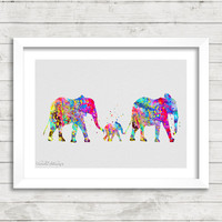 Elephant Family Watercolor Art Print, Baby Nursery or Children's Room Wall Art, Minimalist Home Decor, Not Framed, Gift, Buy 2 Get 1 Free!