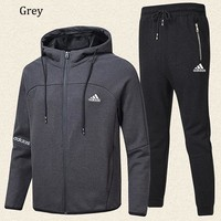 ADIDAS 2018 autumn and winter new plus velvet embroidery logo men's casual sportswear two-piece grey