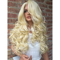 """Light Blonde Carla Multi Parting Human Hair Blend Lace Wig 24"""""""
