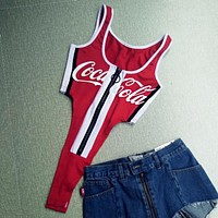 Coca-Cola Sexy Women Letter Print Chest Zipper High Waist One Piece Bikini Swimsuit Bodysuit I13589-1