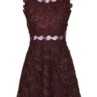 PETITE Structured Lace Skater Dress - Purple