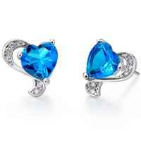 White Gold Plated Blue Heart Crystal Stud Earrings