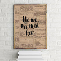Cheshire Cat Cross Stitch Pattern in PDF for Instant Download We re All Mad Here Alice In Wonderland  Typographic print Wall artwork