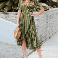 Spring and summer fashion polka dot dress small fresh women's dress V-neck ruffled split skirt