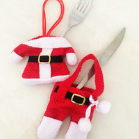 Red Santa Suit Cutlery Cover