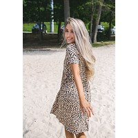 Alyse Animal Print Babydoll Dress, Mocha Mix