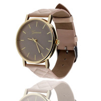 Casual Unisex Checkers Faux Leather Quartz Analog Wrist Watch Fashion Jewelry 7 Colors