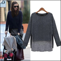 Autumn Women's Fashion Round-neck Long Sleeve Irregular Split Knit Tops Bottom & Top [4918045764]