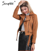 Simplee Apparel Zipper suede basic jacket coat 2016 motorcycle leather jacket Women outwear Pink belted short winter jackets