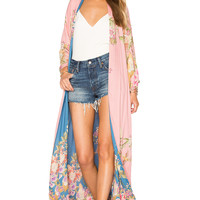 Spell & The Gypsy Collective Blue Skies Luxe Reversible Kimono in Blue & Candy   REVOLVE