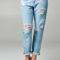 Mid-Rise Distressed Boyfriend Jeans - Light Wash
